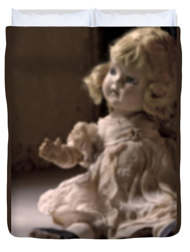 Antique; Broken; Childhood; Cracked; Dirty; Doll; Eerie; Heirloom; Nostalgia; Old; Retro; Ruined; Scary; Toy; Vintage; Weird; Worn; Dark; Creepy; Female; Dress; Porcelain; Girl; Defocused; Blurred; Blurry Duvet Cover featuring the photograph Faded Memories by Margie Hurwich