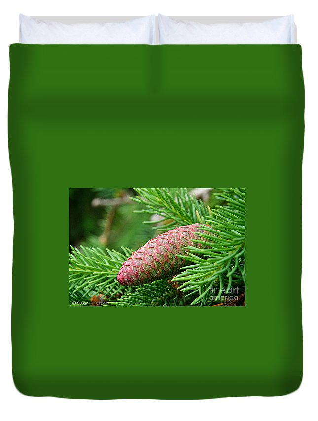 Pine Cone Duvet Cover featuring the photograph Fading Shades by Susan Herber