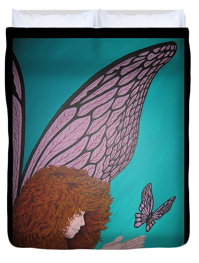 Fantasy Duvet Cover featuring the painting Faerie And Butterfly by Glenn Scano