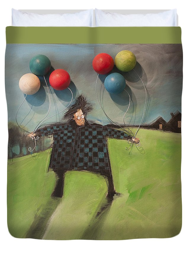 Balloons Duvet Cover featuring the painting Failure To Launch by Tim Nyberg