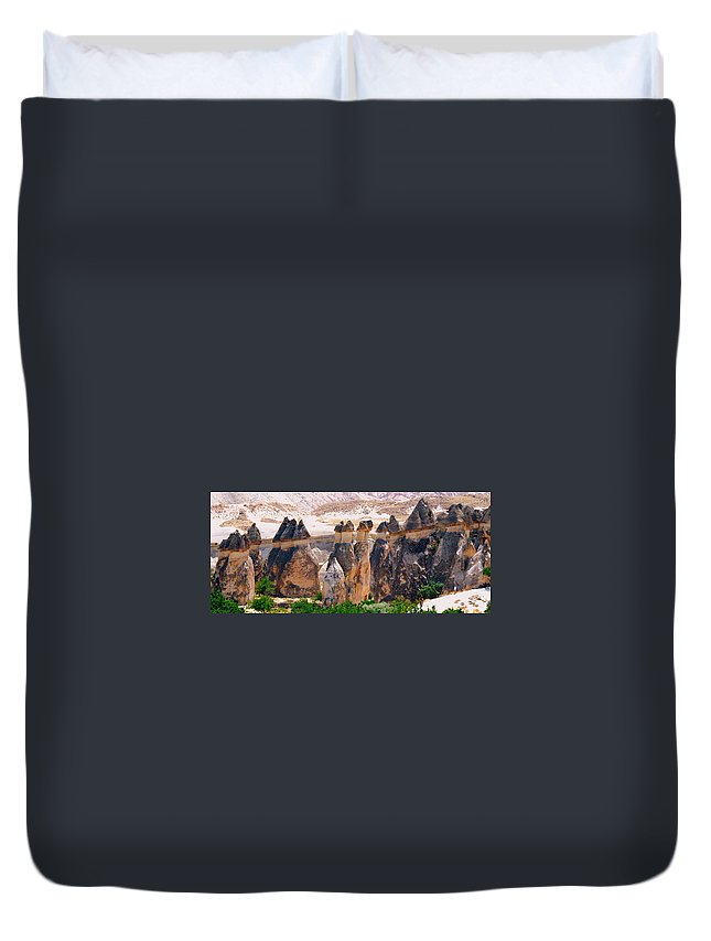 Landscape Duvet Cover featuring the photograph Fairy Chimney Panorama by Apurva Madia