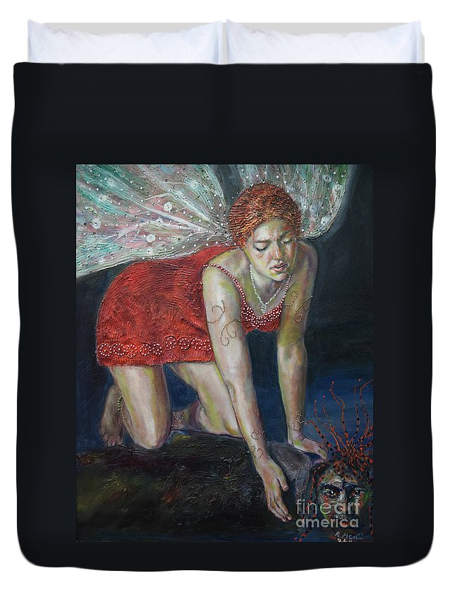 Raija Merila Duvet Cover featuring the painting Fairy Faces Bugaboo by Raija Merila