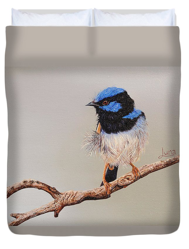 Country Duvet Cover featuring the painting Fairy Floss Male by Luna