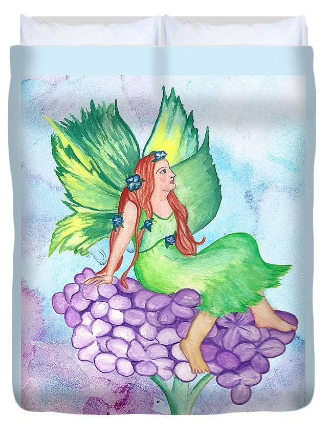 Fairy Duvet Cover featuring the painting Fairy On Lilac by Susan Lyon