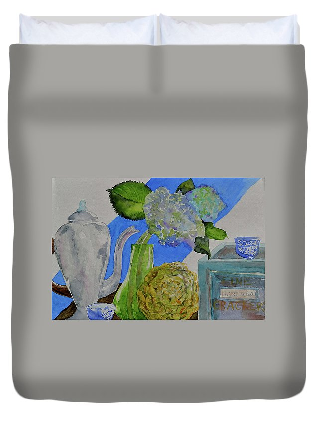 Watercolor Duvet Cover featuring the painting Fairy Soda Fine Crackers by Beverley Harper Tinsley