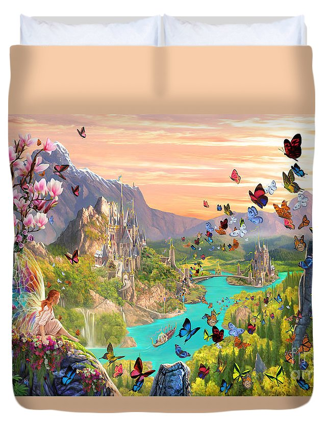 Fairy Duvet Cover featuring the digital art Fairy Valley by Garry Walton