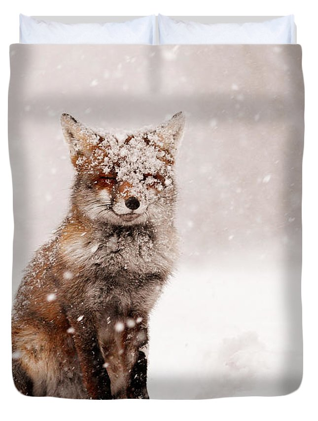 Fox Duvet Cover featuring the photograph Fairytale Fox _ Red Fox In A Snow Storm by Roeselien Raimond