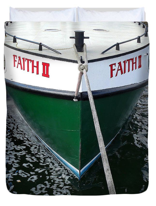 Faith Duvet Cover featuring the photograph Faith II Fishing Boat by David T Wilkinson