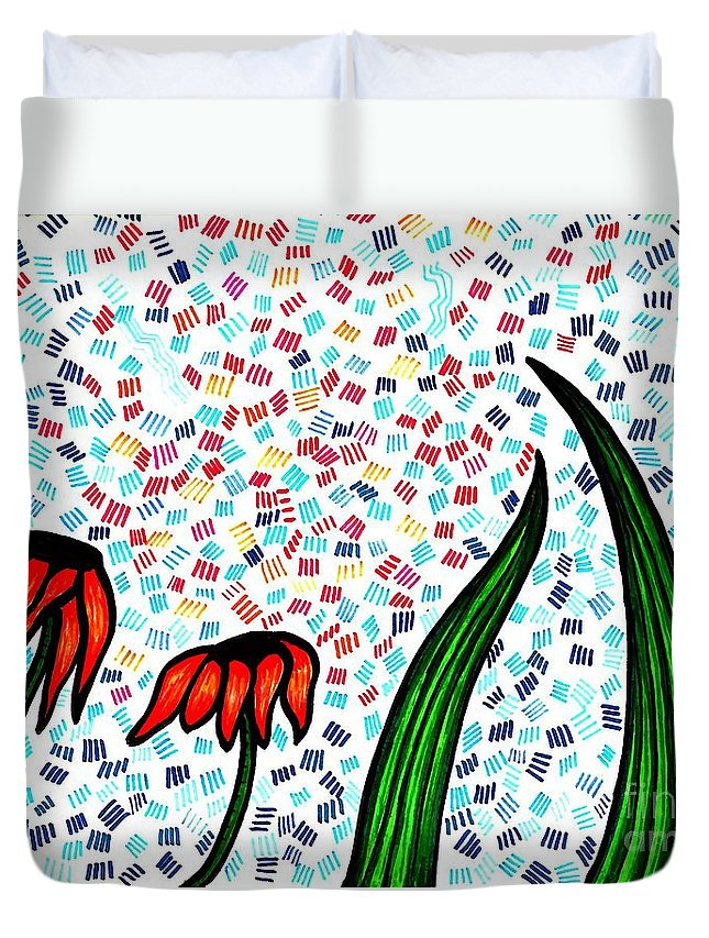 Flower Duvet Cover featuring the drawing Faith by Sarah Loft