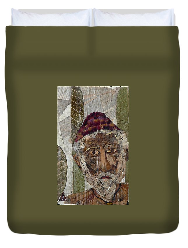 Portrait.holy Person Portrait Duvet Cover featuring the mixed media Fakeer by basant Soni
