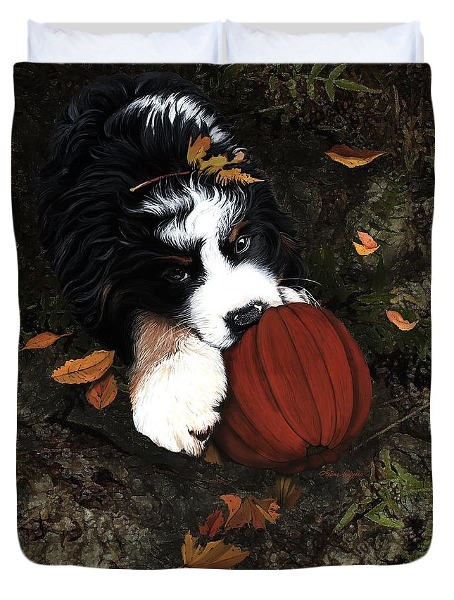 Bernese Mountain Dog Duvet Cover featuring the painting Fall 4 U by Liane Weyers