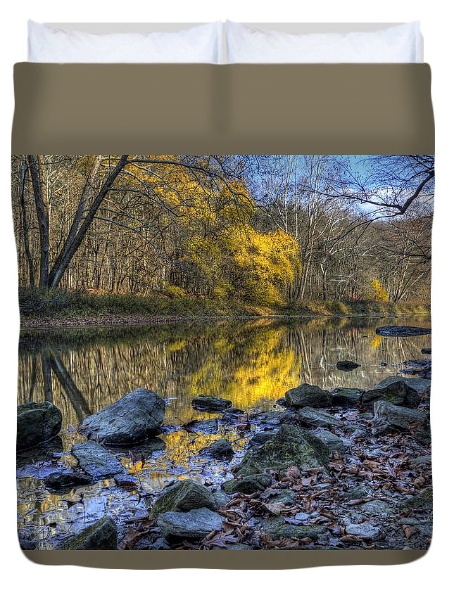 River Duvet Cover featuring the photograph Fall Along The Scenic River by David Dufresne