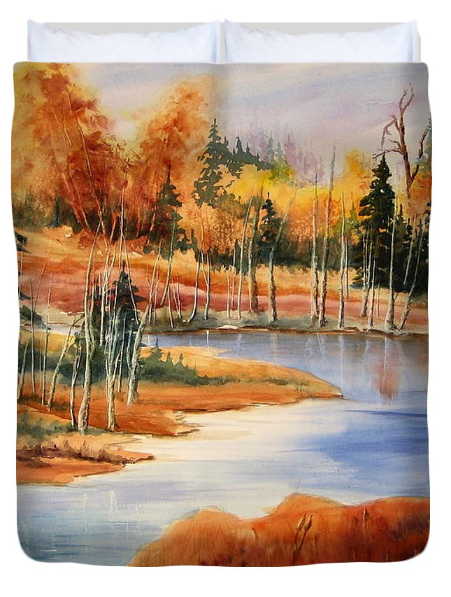Art Duvet Cover featuring the painting Fall At Elk Island by Mohamed Hirji