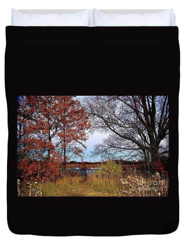 Carmel Duvet Cover featuring the photograph Fall At West Park Pond by Amy Lucid
