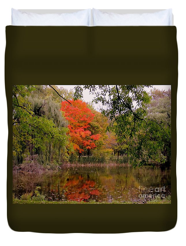 Fall Duvet Cover featuring the photograph Fall In The Park by Jaunine Roberts