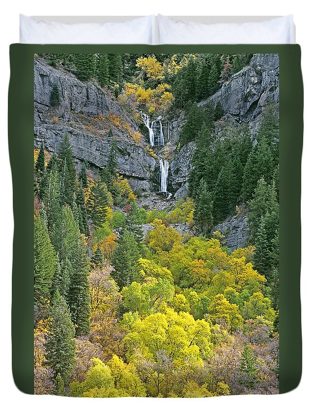 North America Duvet Cover featuring the photograph Fall Color And Waterfalls In Provo Canyon Utah by Dave Welling