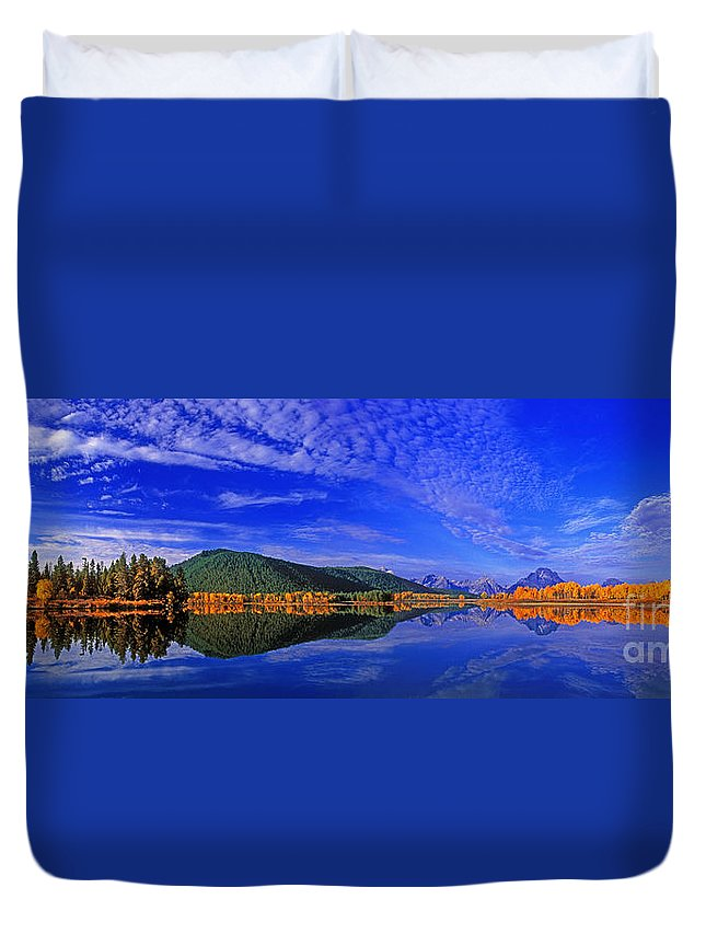North America Duvet Cover featuring the photograph Fall Color Oxbow Bend Grand Tetons National Park Wyoming by Dave Welling