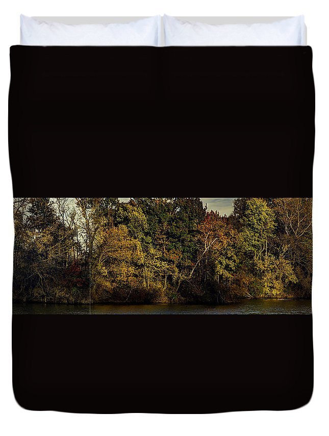 Fall Duvet Cover featuring the photograph Fall Color Trees V8 Pano by John Straton