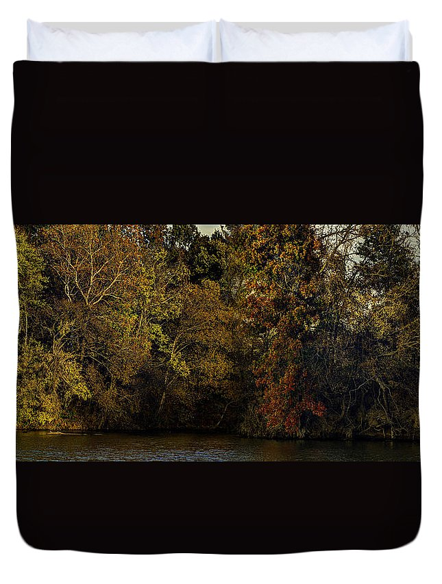 Fall Duvet Cover featuring the photograph Fall Color Trees V9 Pano by John Straton
