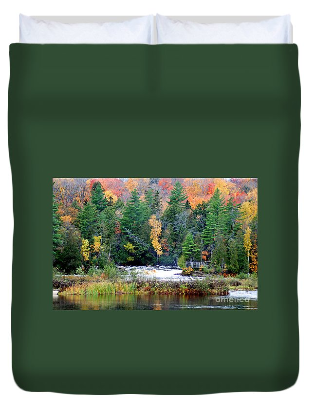Fall Colors Duvet Cover featuring the photograph Fall Colors On The Tahquamenon River  by Optical Playground By MP Ray