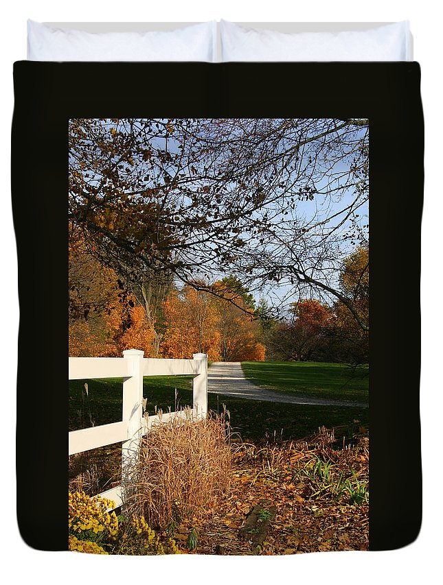 Wisconsin Duvet Cover featuring the photograph Fall Comes To The Hollow by Kay Novy