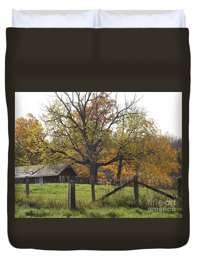 House Duvet Cover featuring the photograph Fall Foilage In Country by Brenda Brown