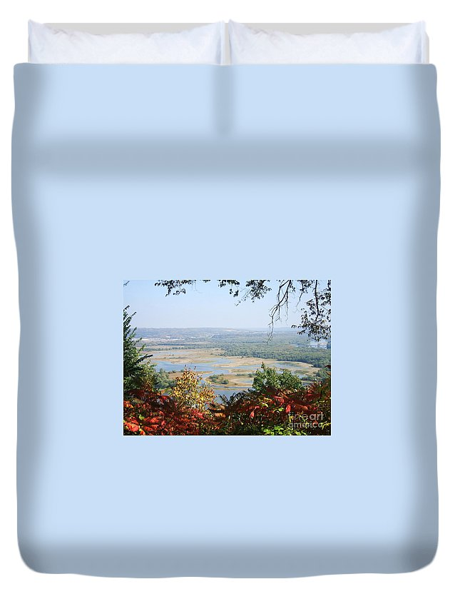 Trees Leaves Duvet Cover featuring the photograph Fall Framed Islands by Minding My Visions by Adri and Ray