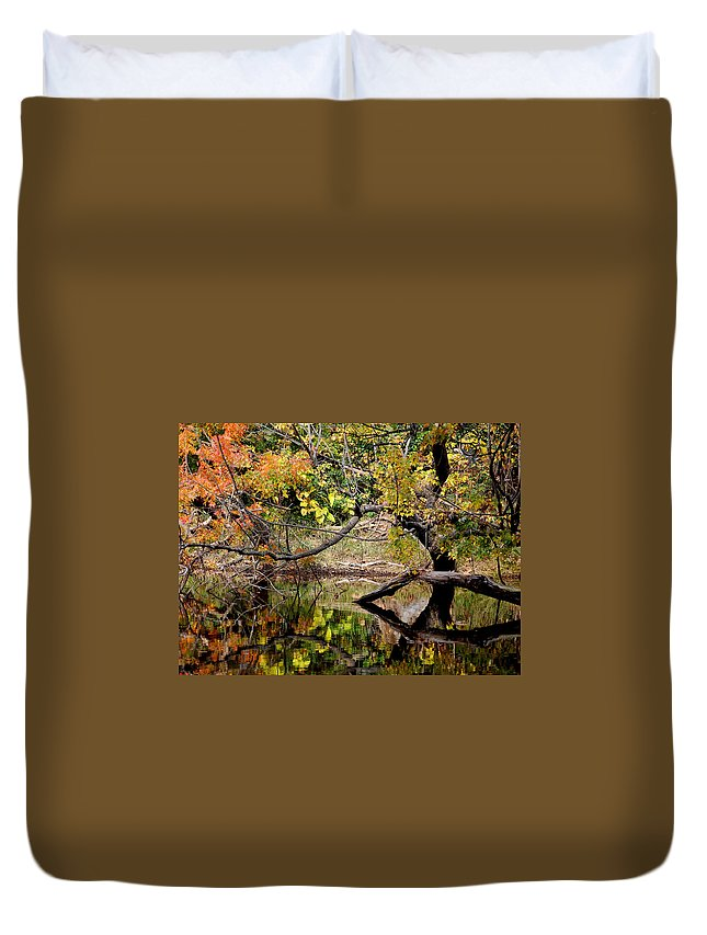 Fall Leaves Colors Branches Water One Mile Bidwell Park Chico Ca Duvet Cover featuring the photograph Fall From The Water by Holly Blunkall