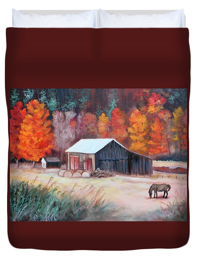 Horse Duvet Cover featuring the painting Fall Grazer by Eve Wheeler