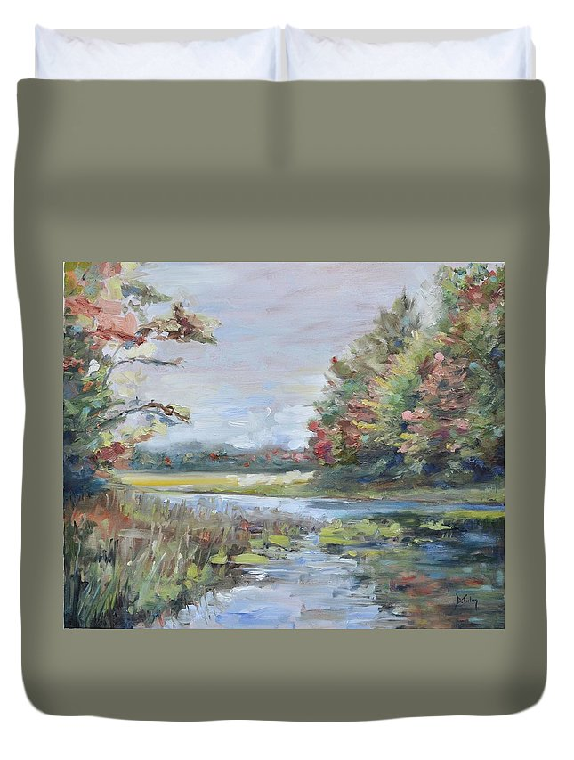 Water Duvet Cover featuring the painting Fall Impressions by Donna Tuten