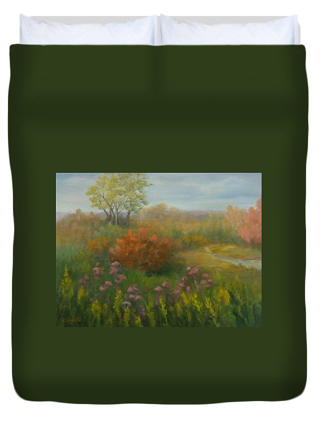 Pamela Allegretto Duvet Cover featuring the painting Fall In New England by Pamela Allegretto
