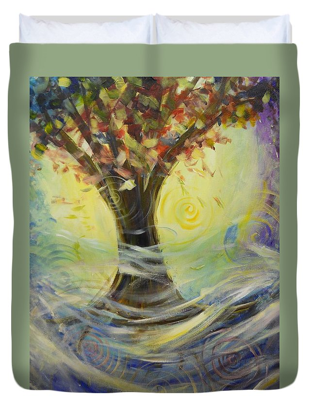 Spiritual Duvet Cover featuring the painting Fall Mist by Kurt Fondriest