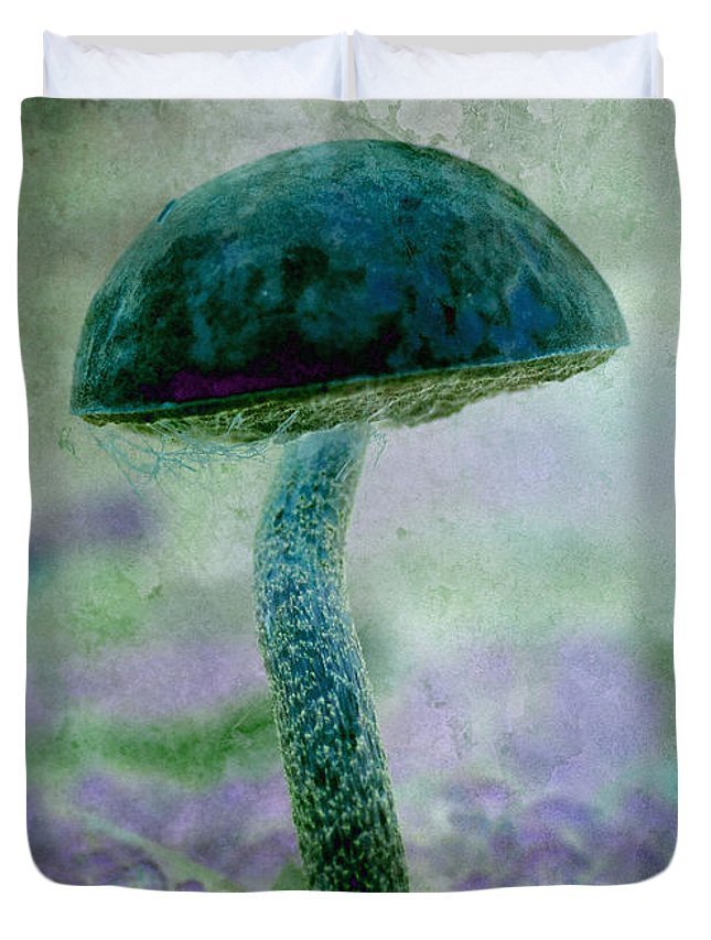 Mushroom Duvet Cover featuring the photograph Fall Mushroom 19 by WB Johnston