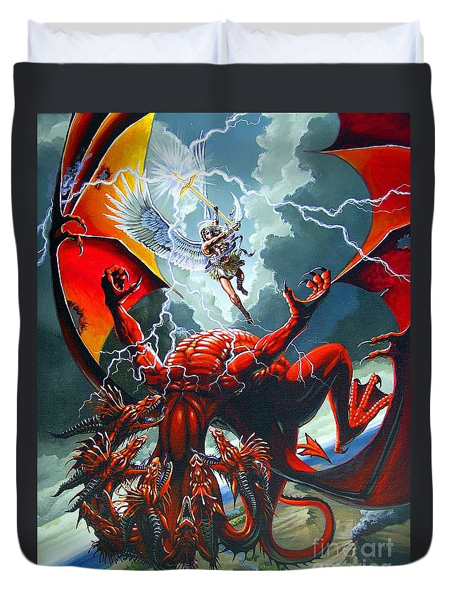 Dragon Duvet Cover featuring the painting Fall Of The Hydra by Stanley Morrison