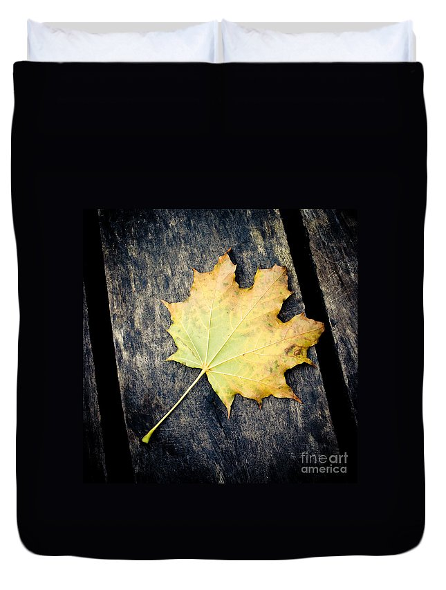 Fall Duvet Cover featuring the photograph Fall Of The Leaf by Sviatlana Kandybovich