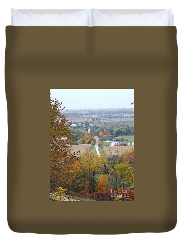 Nature Duvet Cover featuring the photograph Fall Overlook by Minding My Visions by Adri and Ray