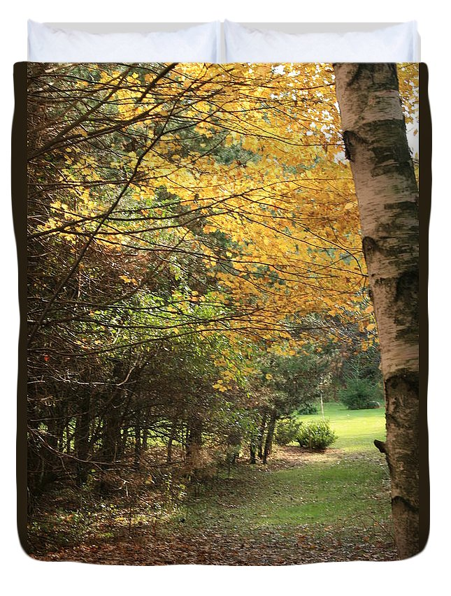 Fall Duvet Cover featuring the photograph Fall Path by Kathy DesJardins