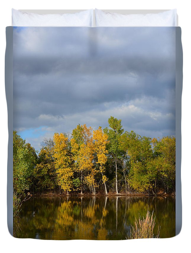 Fall Duvet Cover featuring the photograph Fall Pond Reflection by Gale Cochran-Smith