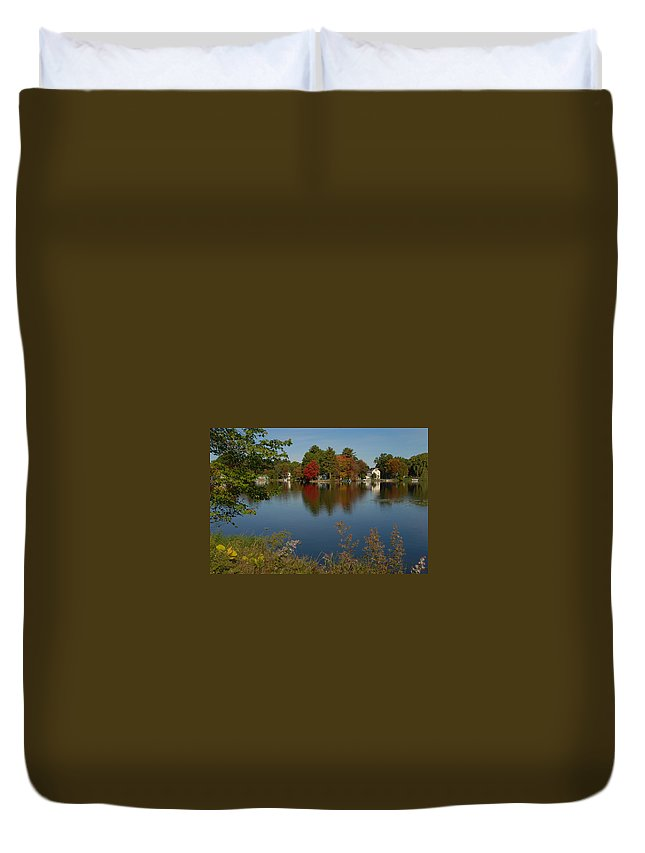 Foliage/lakes Duvet Cover featuring the photograph Fall Reflection by Caroline Stella