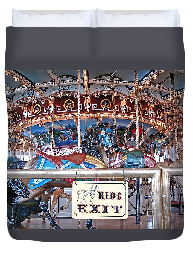 Carousel Duvet Cover featuring the photograph Fall River Ride Exit by Barbara McDevitt