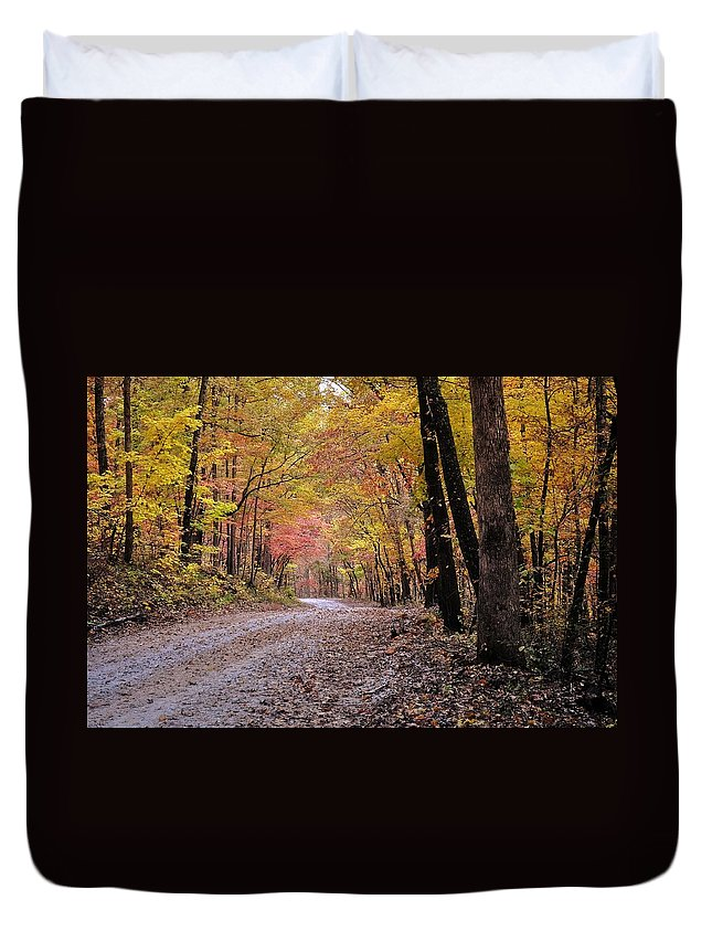 Fall Duvet Cover featuring the photograph Fall Road by Marty Koch