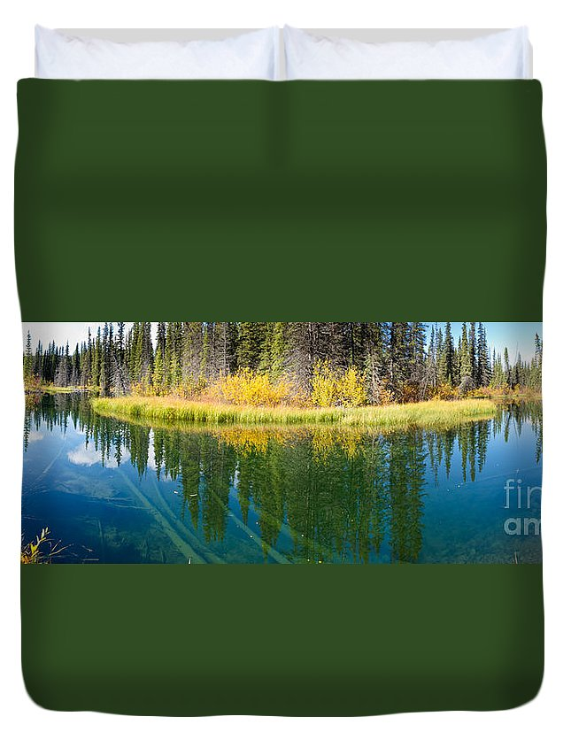 Authentic Duvet Cover featuring the photograph Fall Sky Mirrored On Calm Clear Taiga Wetland Pond by Stephan Pietzko