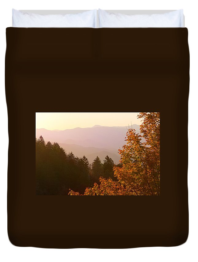 Landscape Duvet Cover featuring the photograph Fall Smoky Mountains by Melinda Fawver