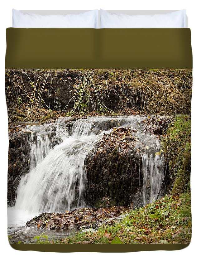 Waterfalls Duvet Cover featuring the photograph Fall Time Waterfalls by Lori Tordsen