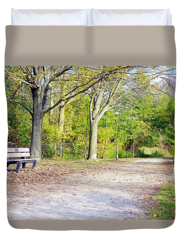 Fall Duvet Cover featuring the photograph Fall Walk by Valentino Visentini