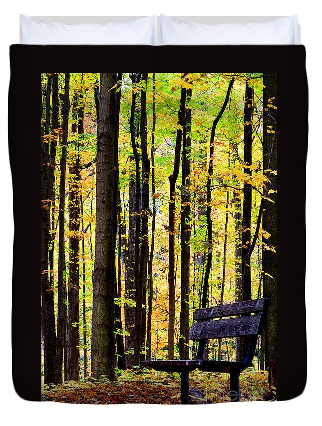 Leaves Duvet Cover featuring the photograph Fall Woods In Michigan by Michael Arend