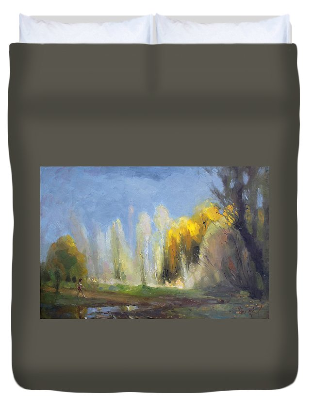 Fall Duvet Cover featuring the painting Fall by Ylli Haruni