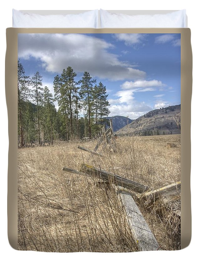 Fence Duvet Cover featuring the photograph Fallen Fence by John Greaves