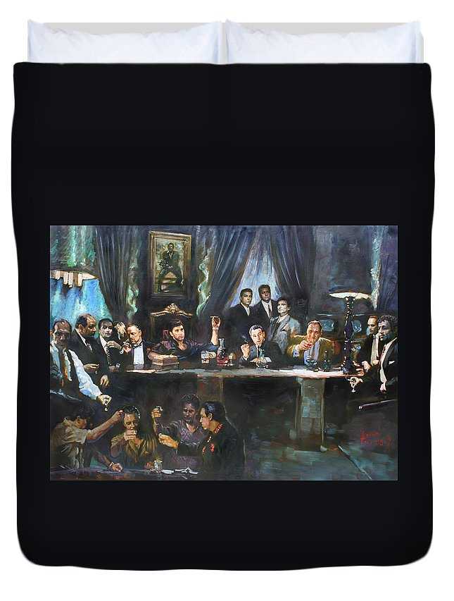 Gangsters Duvet Cover featuring the painting Fallen Last Supper Bad Guys by Ylli Haruni