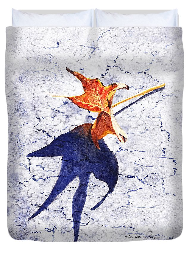 Fall Duvet Cover featuring the painting Fallen Leaf King Size Shadow by Irina Sztukowski